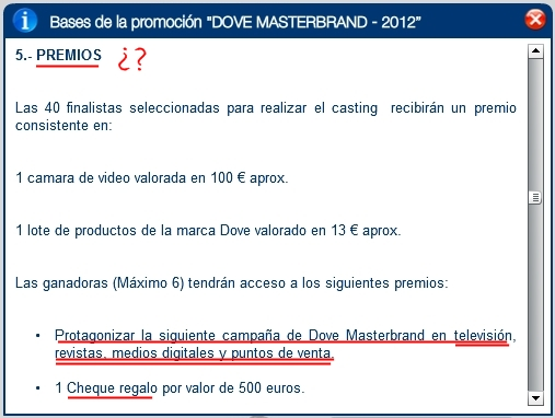 bases legales casting Dove