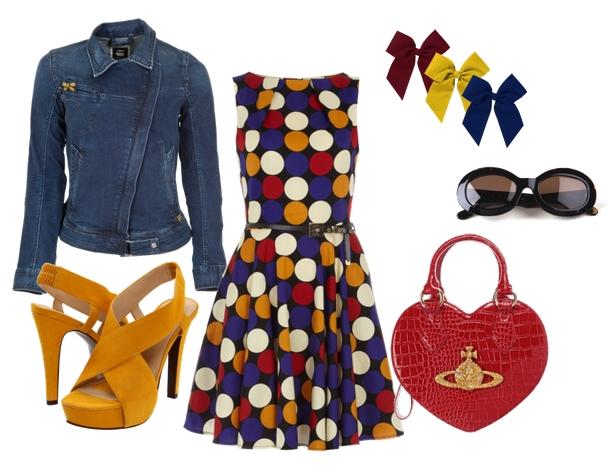 Vestido de topos multicolor