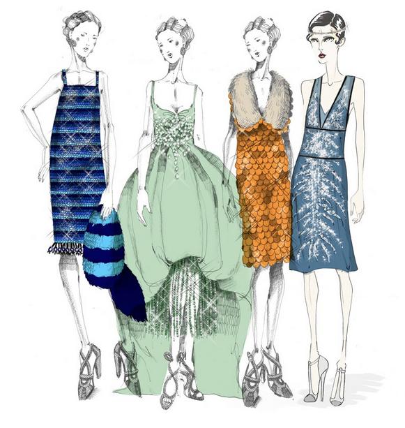 Bocetos de Miuccia Prada para el vestuario de El gran Gatsby