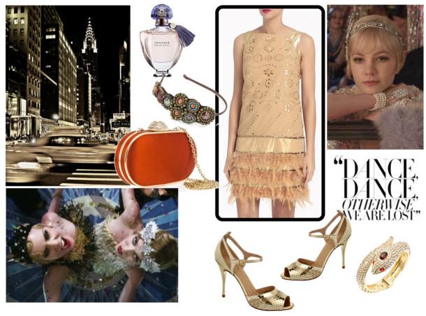 Copia el estilo de El gran Gatsby vestido dorado