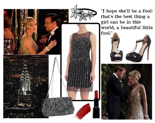 Copia el estilo de El gran Gatsby vestido negro de fiesta