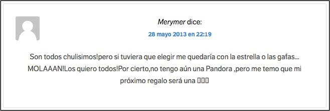 Comentario ganadora Pandora