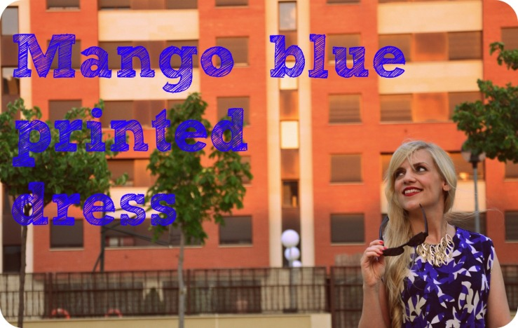 Mango blue printed dress portada