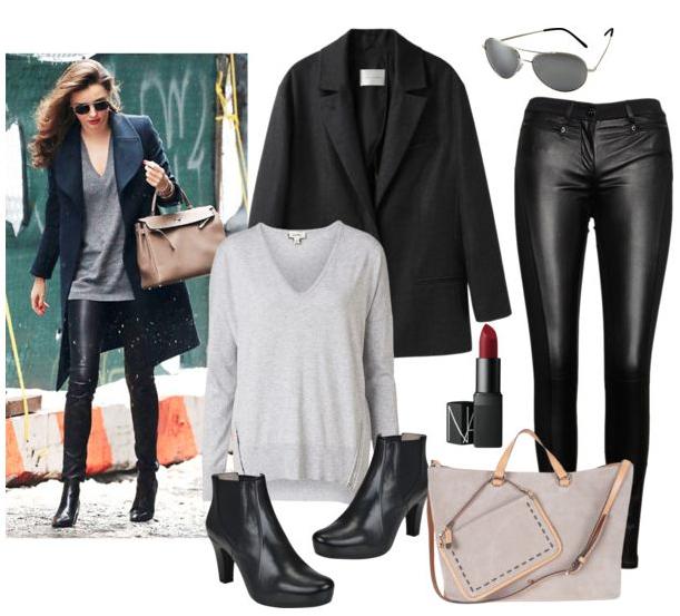 Miranda Kerr abrigo masculino y pantalones de cuero