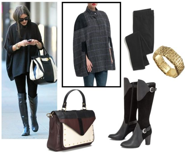 Olivia Palermo capa y botas altas