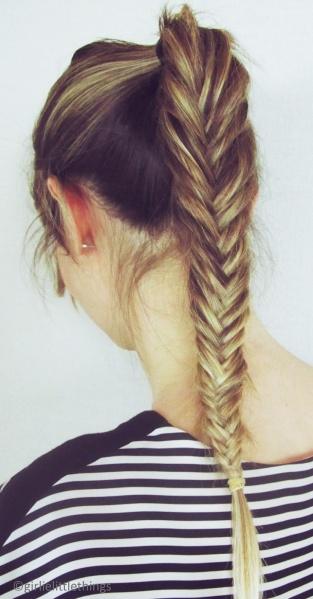 Trenza de espiga ponytail