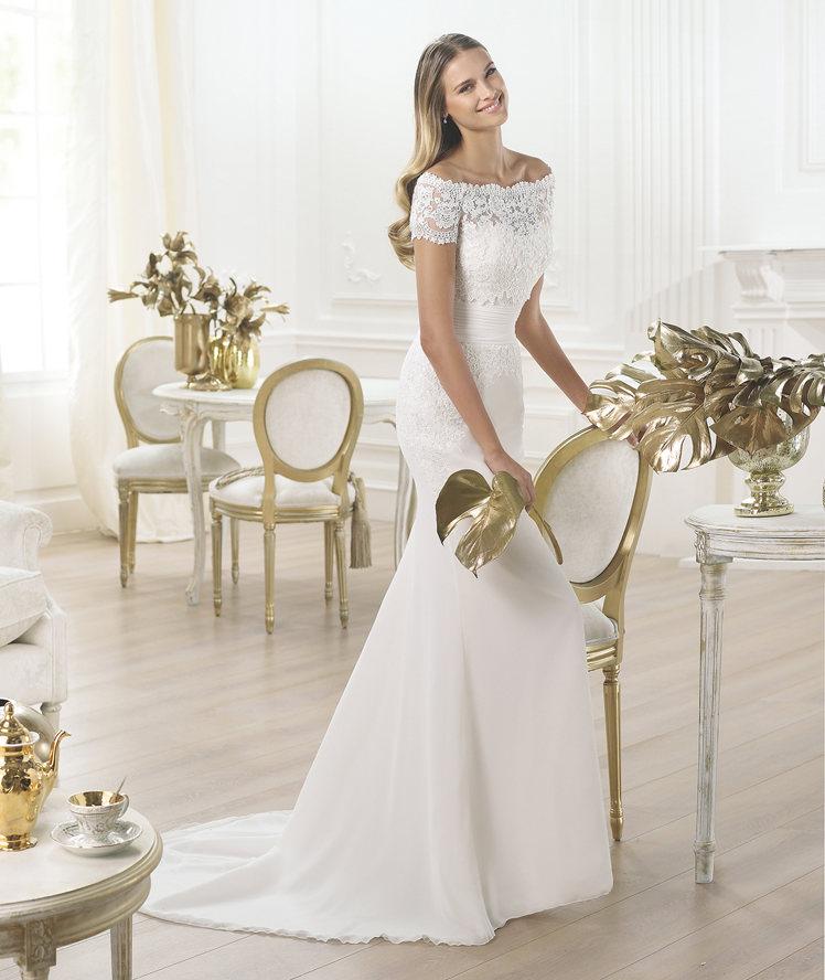 Vestido Lambina Pronovias Fashion 2015 escote de barco