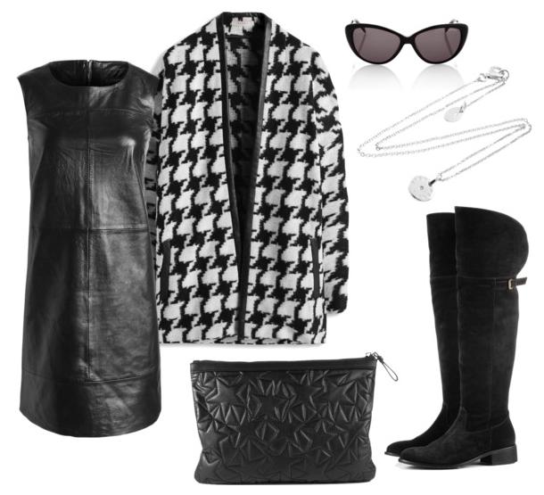 Look casual vestido de cuero negro de Esprit