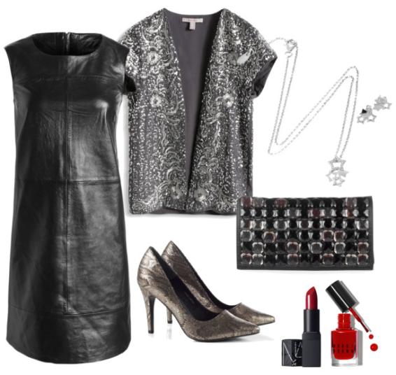 Look de fiesta vestido de cuero negro de Esprit