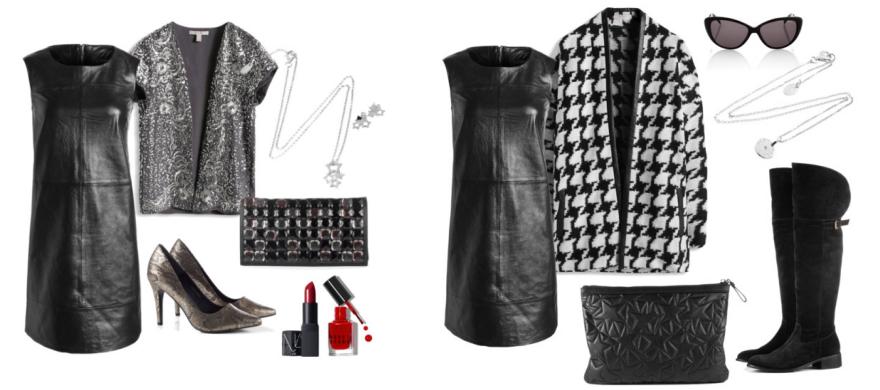 Vestido de cuero negro de Esprit destacada