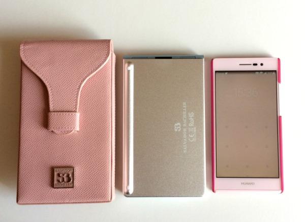 Teclado español plegable Bluetooth de Salvador Bachiller y Huawei Ascend P7 rosa