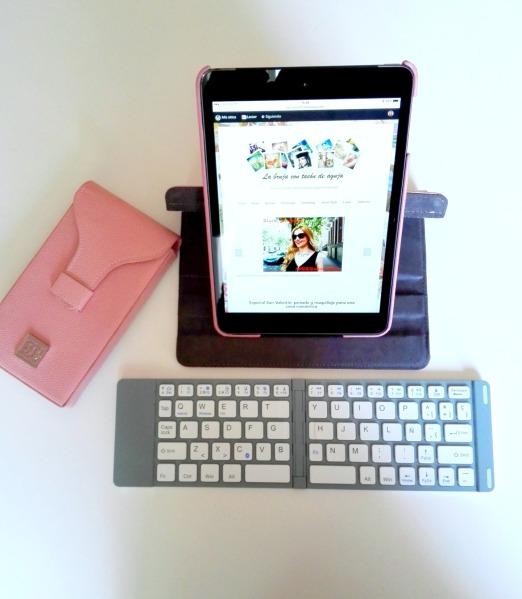 Teclado plegable español para tablet y funda 360 para iPad Mini