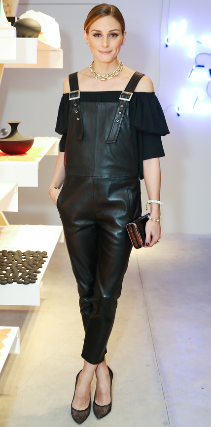 Olivia Palermo leather jumpsuit