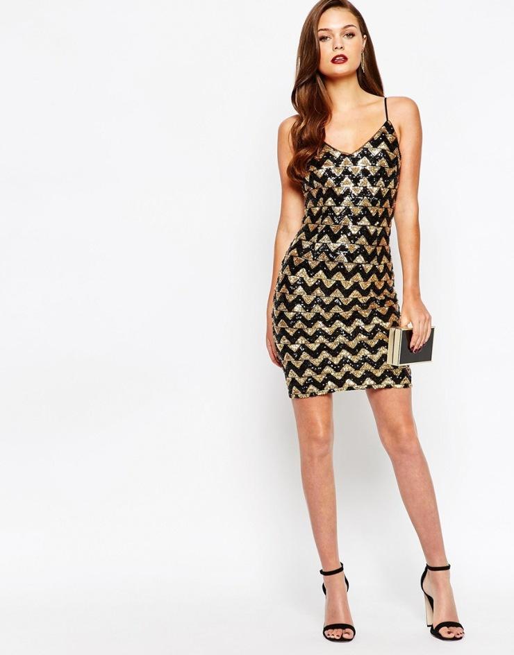 Vestido de fiesta de lentejuelas zigzag de New Look 01