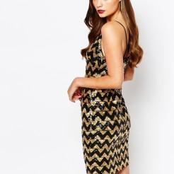 Vestido de fiesta de lentejuelas zigzag de New Look