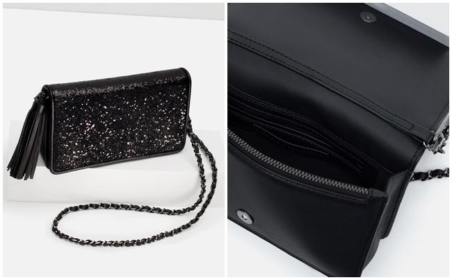 c8b44ecaf Bolsos de fiesta Zara clutch purpurina negro – La Bruja con tacón de ...
