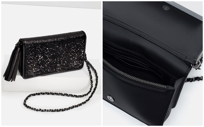 Bolsos de fiesta Zara clutch purpurina negro