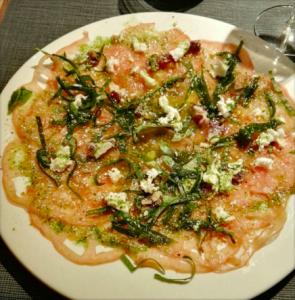 Carpaccio de tomate con espinacas de Amalur Logroño