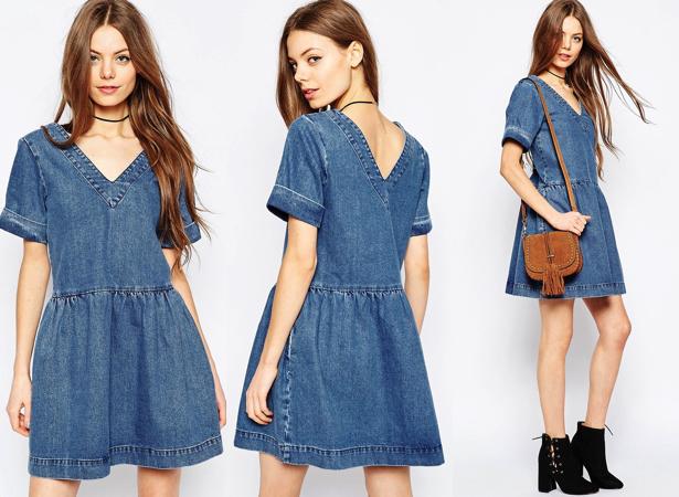 Vestido vaquero amplio con lavado azul medio de ASOS