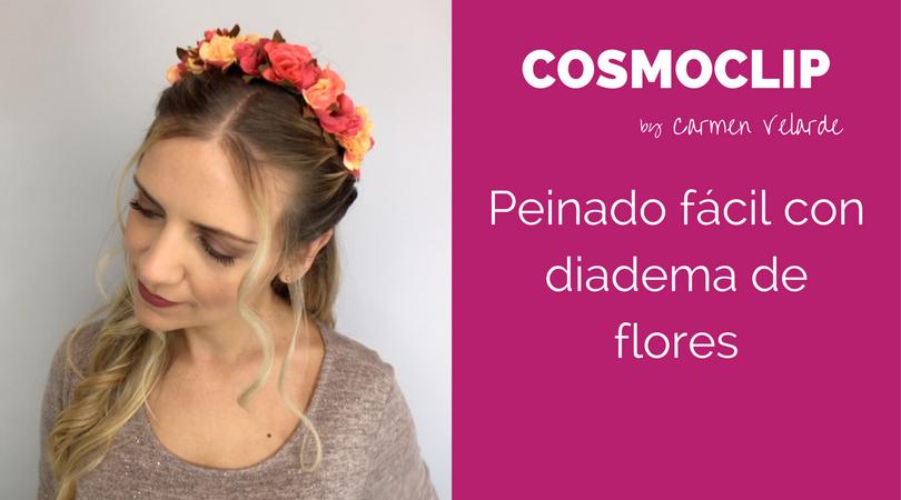 Peinado fácil con diadema de flores