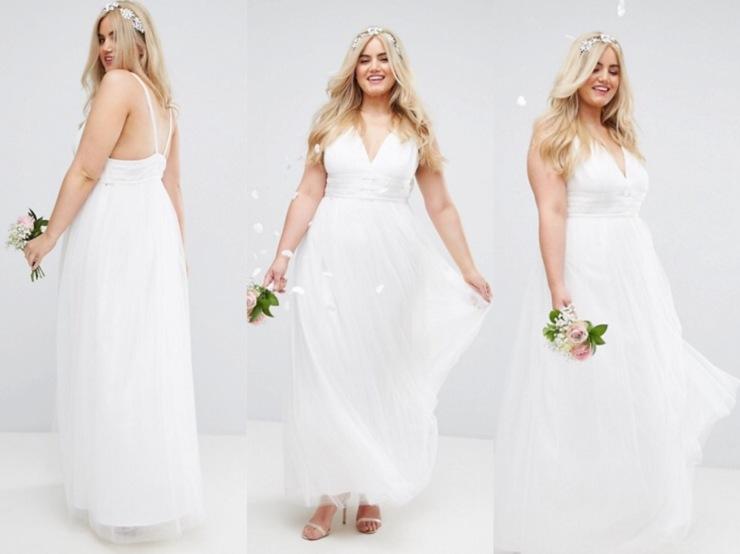 Vestido de novia de ASOS con falda de tul
