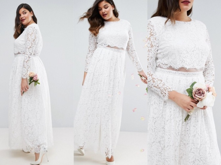 Vestido de novia falso crop top de ASOS Wedding