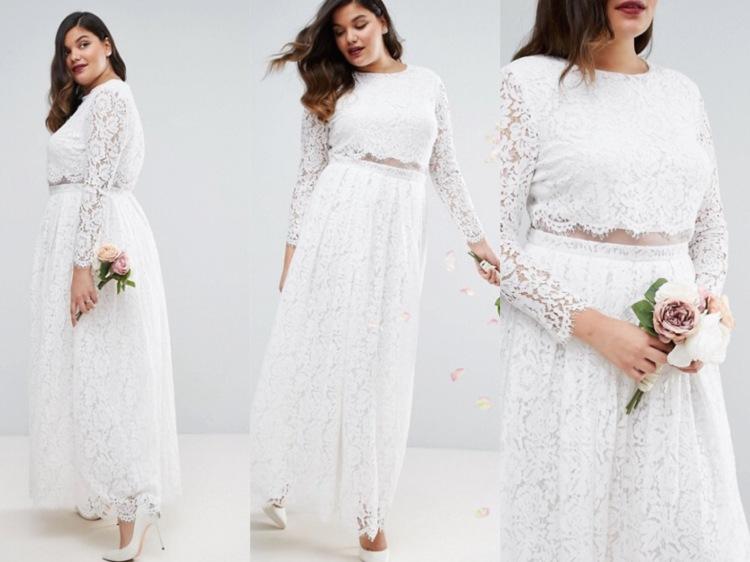 Vestido de novia falso crop top de ASOS Wedding