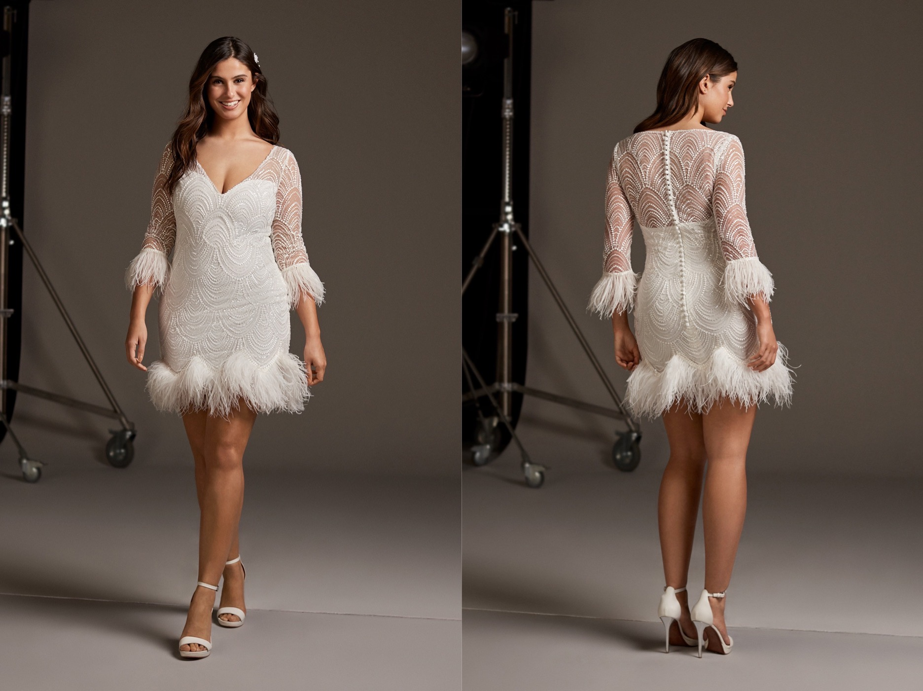 Winter Wedding - Pronovias 2019 vestido corto con mangas