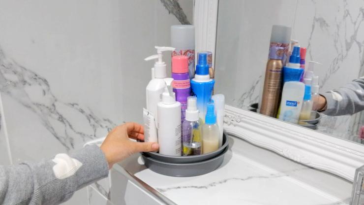 DIY bandeja giratoria para cosméticos