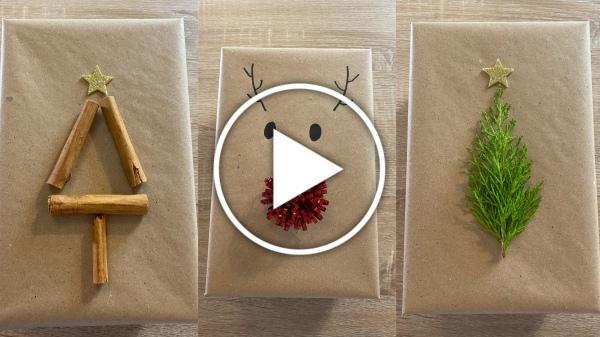 Ver en Cosmo - vídeo DIY ideas para adornar regalos de Navidad